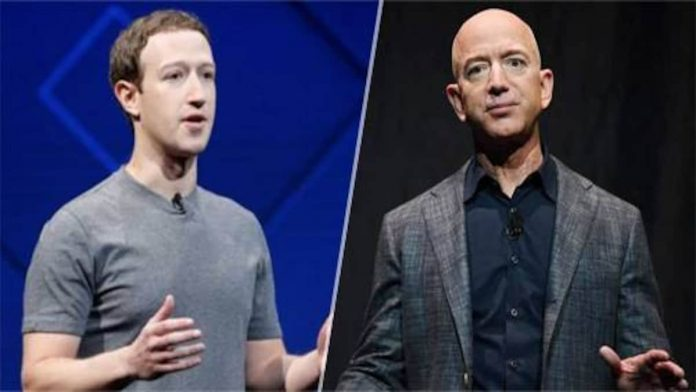 Bill Gates and Mark Zuckerberg saw their net worths take a hit on Monday but Bezos added to his wealth, with Amazon stock closing up.